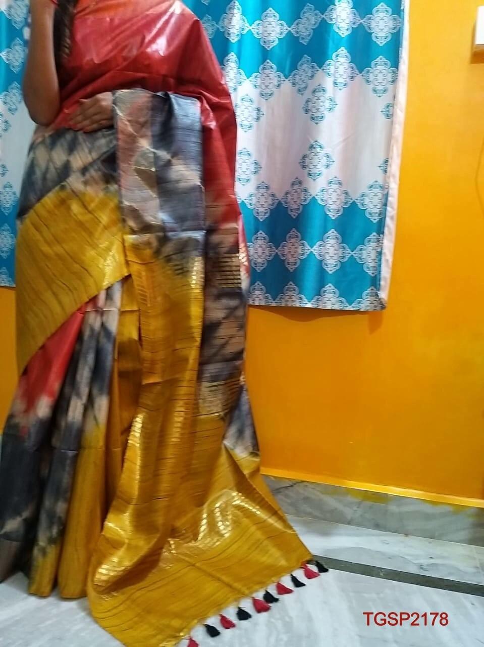 Tusser Ghiccha Silk saree with new Shibori print