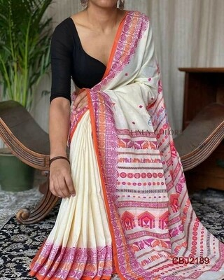 Cotton  base hand woven all over work jamdani saree