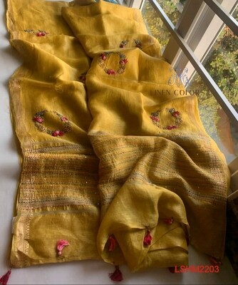 Silk by linen golden silk zari border saree with hand motifs work design