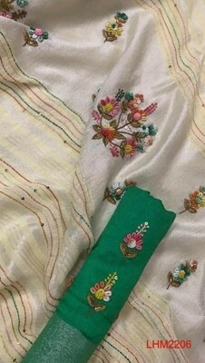Linen saree with thread and hand motif work