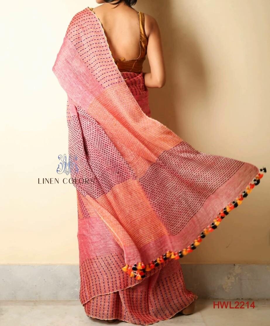 Pink shade hand woven linen saree
