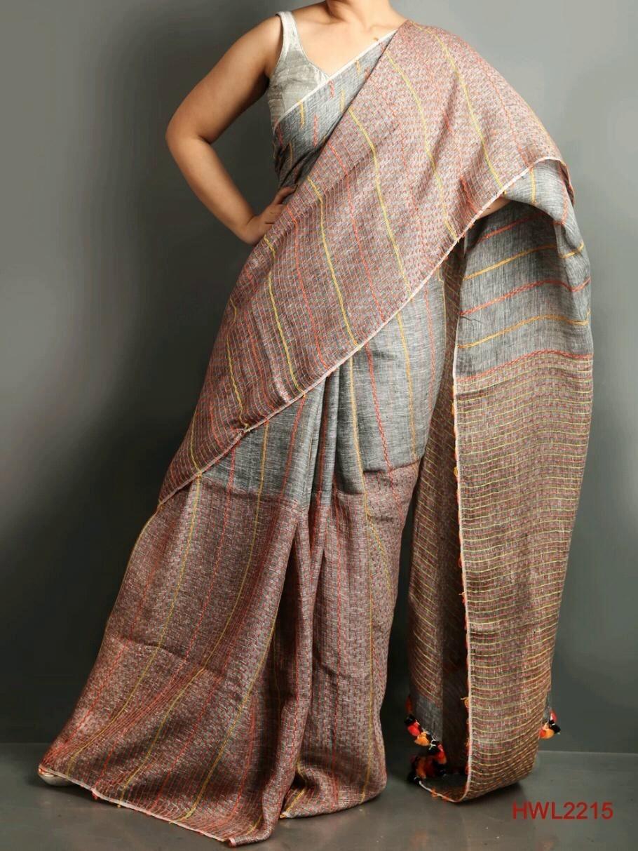Grey shade hand woven linen saree