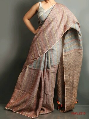 Grey shade hand woven linen saree