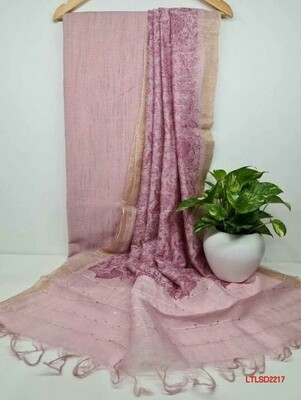 Linen Top material with silk linen embroidery floral dupatta