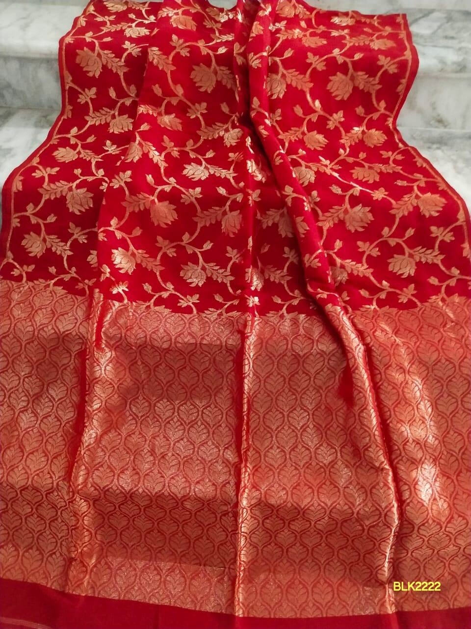Banarasi Linen Khadi saree with all-over zari weaving