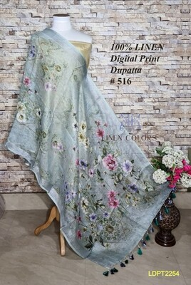 Multicolor linen dupatta with digital print