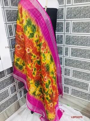 Linen Zari border mini checks design dupatta with beautiful  new fancy Shibori printed design.