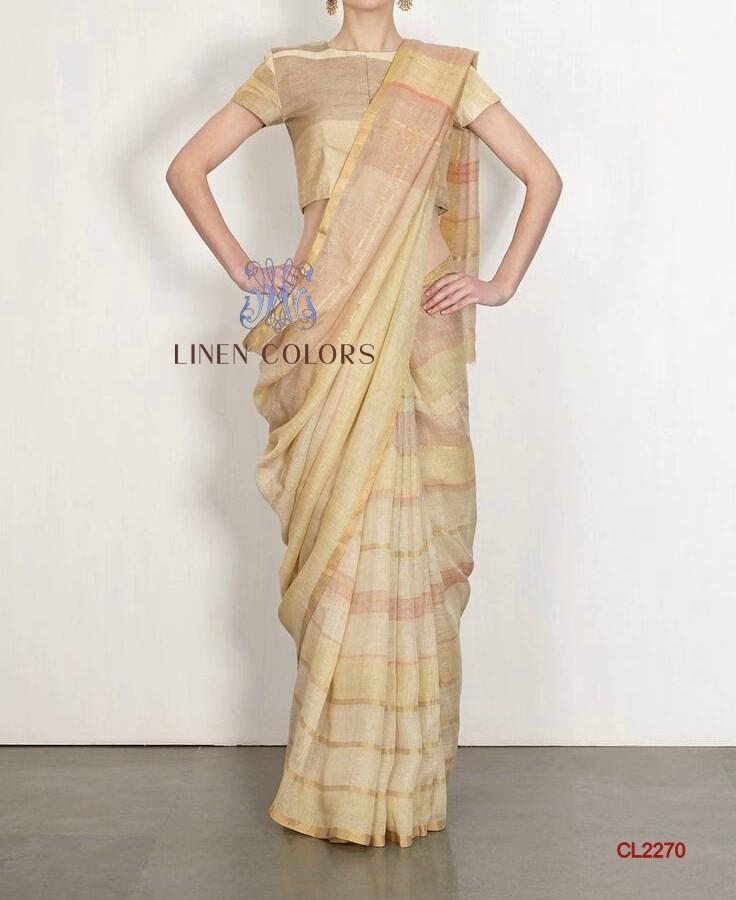 Alluring Cotton linen Saree with run on blouse