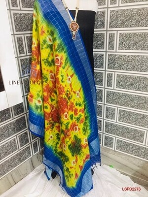 Linen Zari border mini checks design dupatta with beautiful  new fancy Shibori printed design.