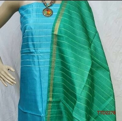 Tusser Silk Zari border stripes design dupatta and Tusser Silk top in material