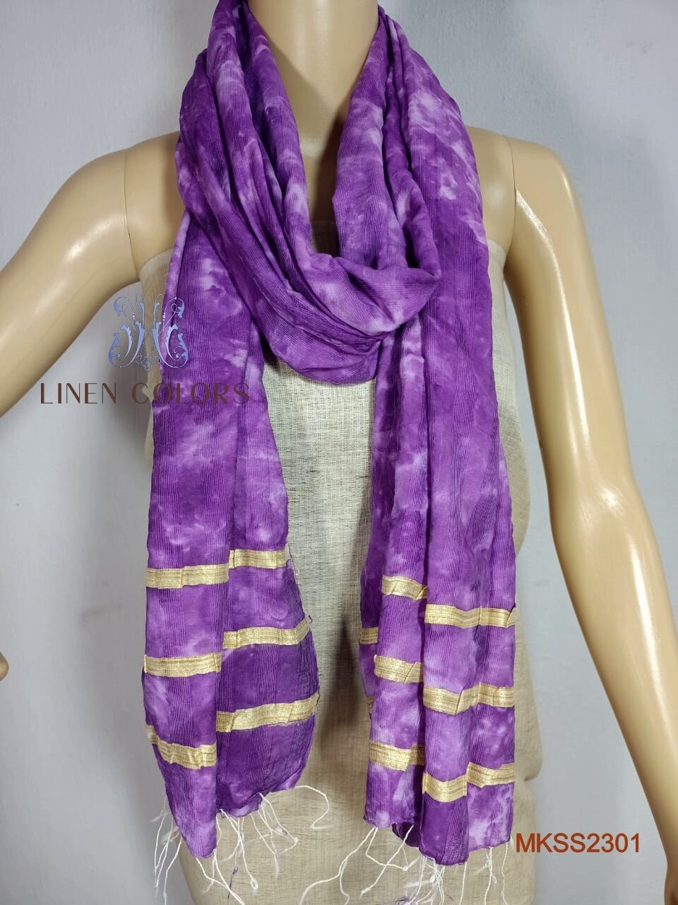 Beautiful Mixed Katan by Steple stole with traditional hand print