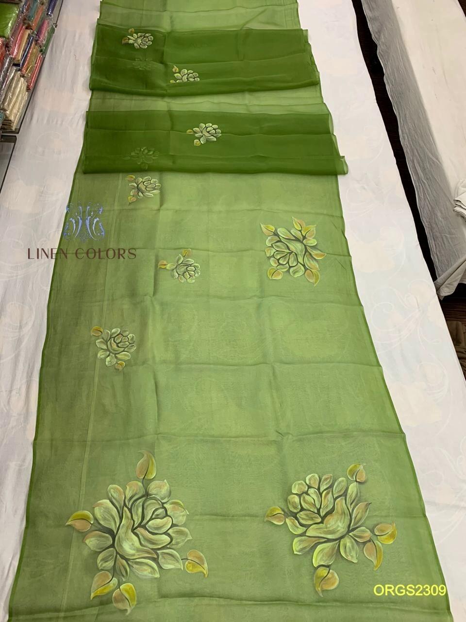 Elegant Organza Silk hand-painted Saree
