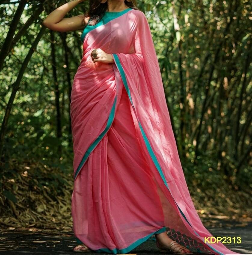 Pink Red shade Khadi Saree