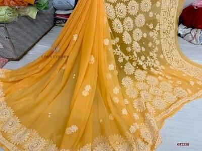 Georgette Surya saree with new full Jaal Chickenkari work