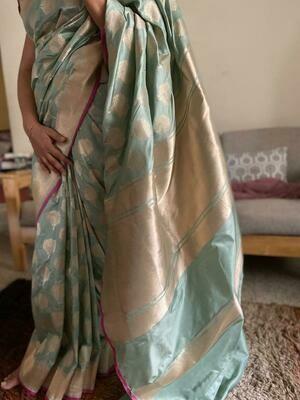 Authentic Katan Banarasee Saree with all-over butta design