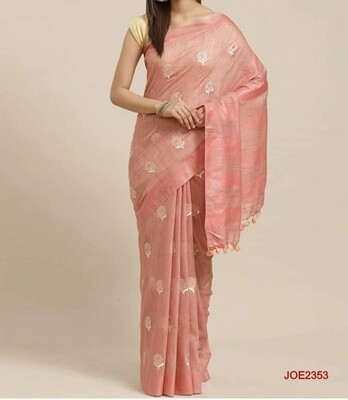 Beautiful Jute Organza Saree with floral embroidery