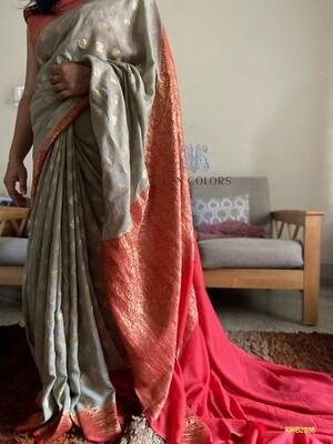 Authentic Katan Munga Banarasee Saree with all over butta design