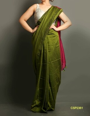 Beautiful Cotton silk saree with contrast pallu