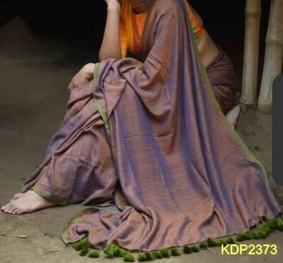 Traditional Khadi Saree with contrast border