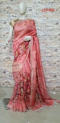 Multicolor Digital Printed Linen Saree