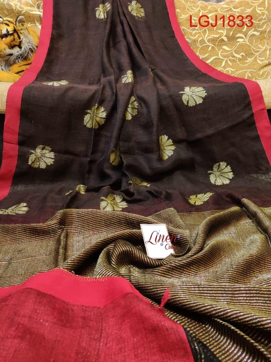 Authentic hand-woven linen jamdani saree