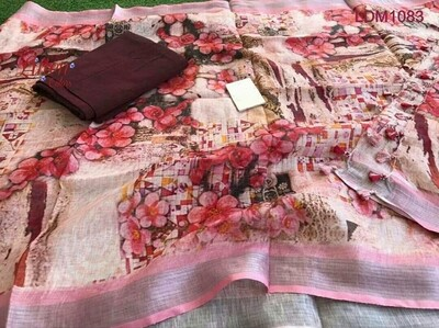 Linen Top material with linen digital print Dupatta