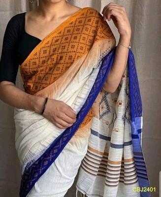 Cotton  base hand woven all over work jamdani saree