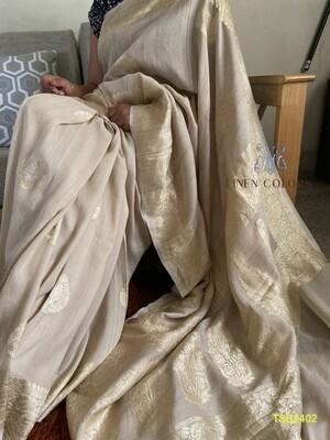 Tusser by tusser Banarase hand woven silk saree