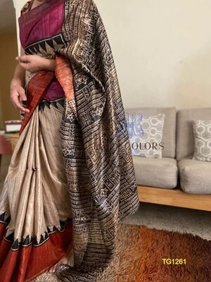 Tusser by Ghicha Silk Saree with block prints