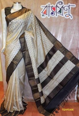 Tusser Ghiccha Silk saree with new hand block prints