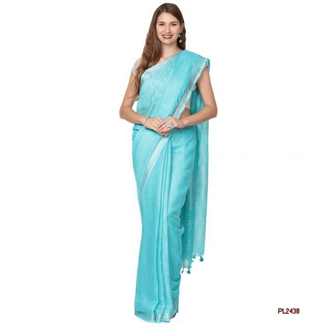 Blue shade handwoven Linen Saree with contrast border