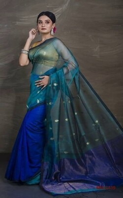 Beautiful Muslin Semi Matka saree with all-over hand crafted zori ball butta