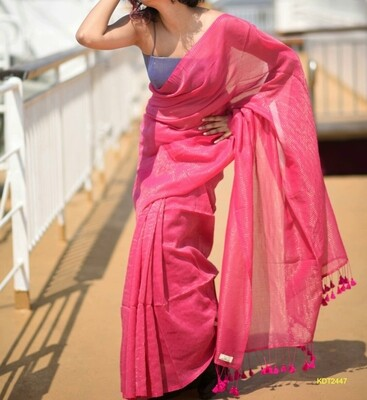 Exclusive Handloom Khadi Saree with all over zori checks