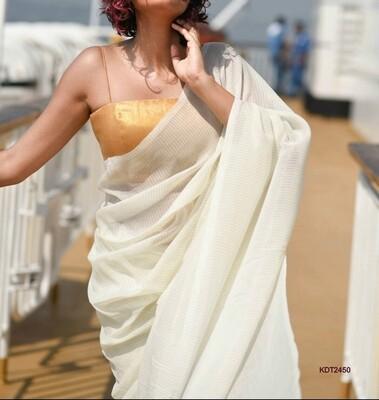 Exclusive Handloom Khadi Saree with all over zori checks