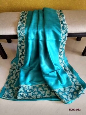 Elegant Tusser by Tusser saree with hand cut work design