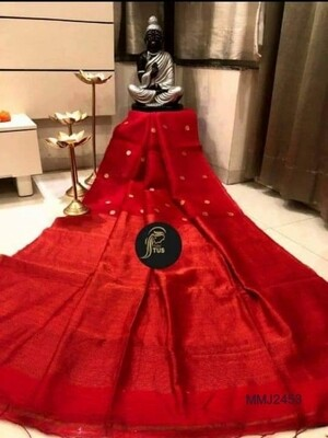 Beautiful Muslin Semi Matka saree with all-over hand crafted zori ball butta