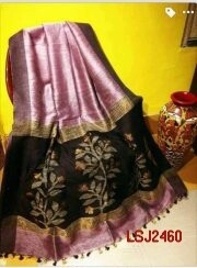 Silk by linen saree with hand woven jamdani work