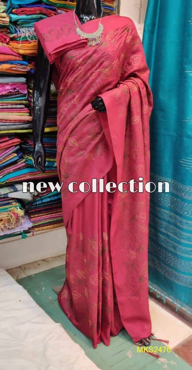 Mixed Katan by Steple nonZari border soft saree in new exclusive embroidery