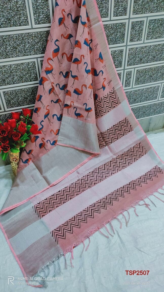 Tissue by Slub soft jari border saree with beautiful new floral screen prints