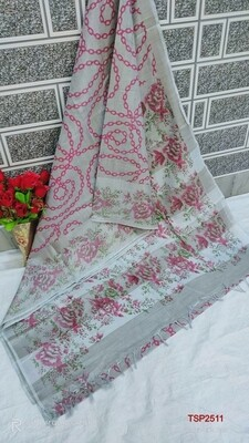 Tissue by Slub soft jari border saree with beautiful new floral screen prints