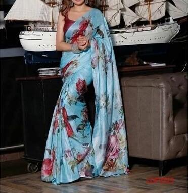 Multicolor Handwoven Digital Printed Linen Saree