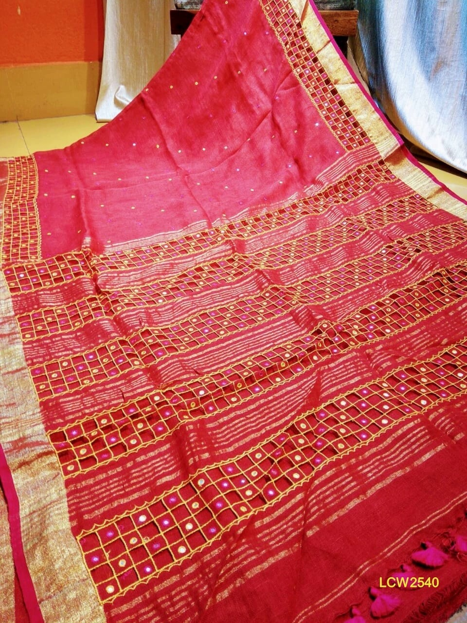 Linen Saree with new hand cut work design