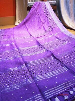 Linen Saree with new hand cut work design