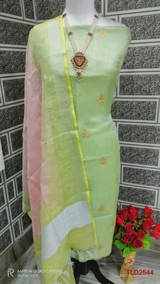 Tissue Linen Zari border embroidery dupatta and Tissue Linen embroidery top