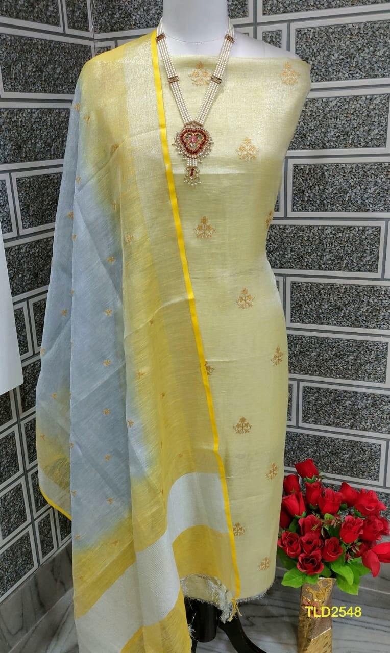 Tissue Linen Zari border embroidery dupatta and Tissue Linen embroidery top