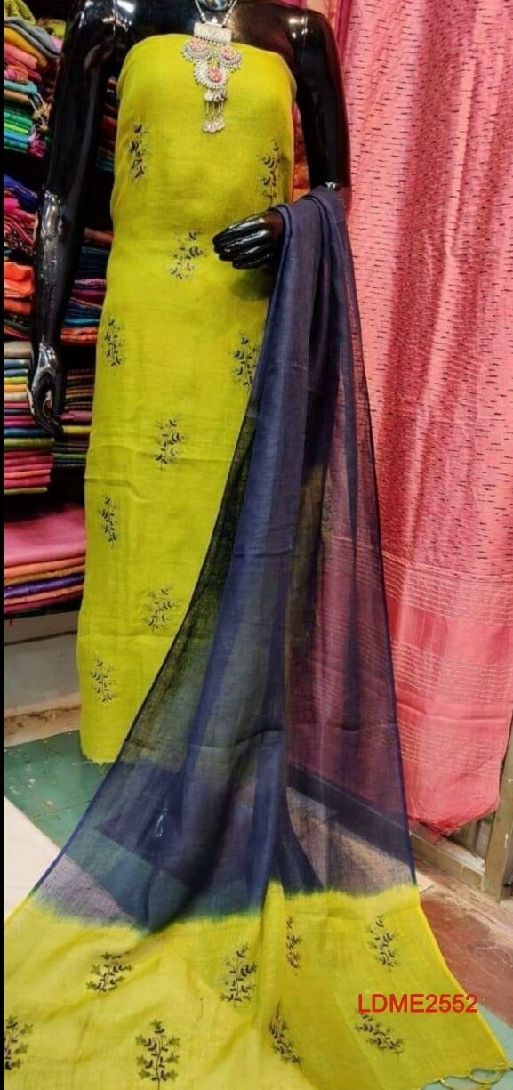 Beautiful Linen top and dupatta with beautiful embroidery work.