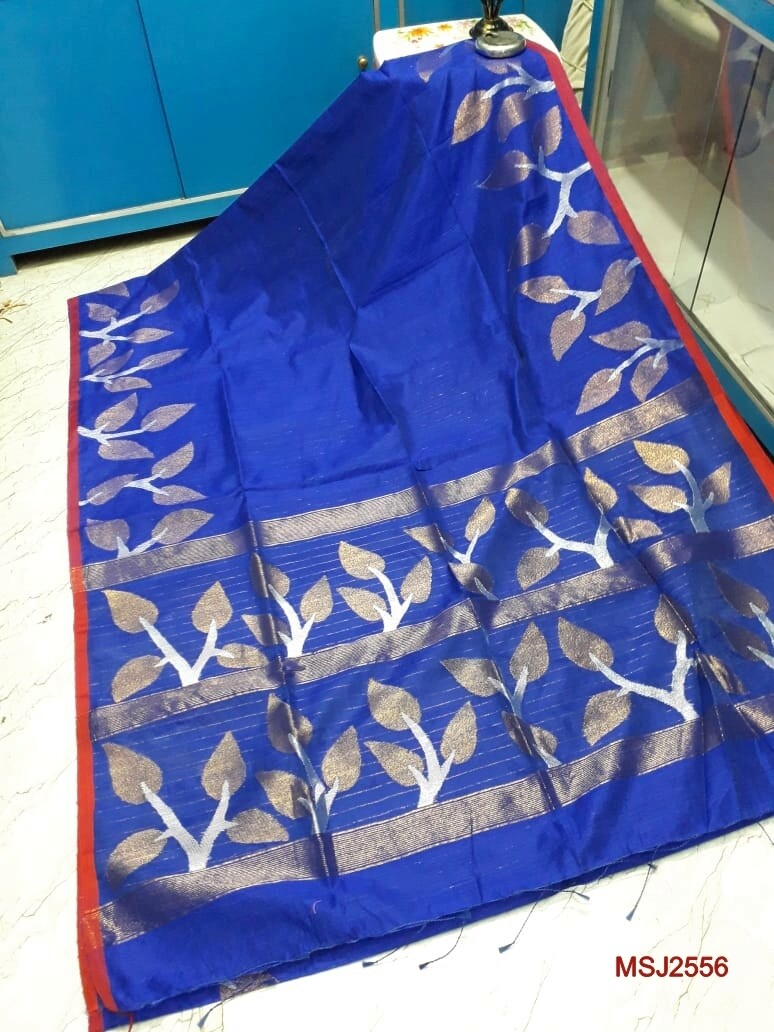 Mutka Silk Jamdani saree with all over hand crafted leaf sequence work