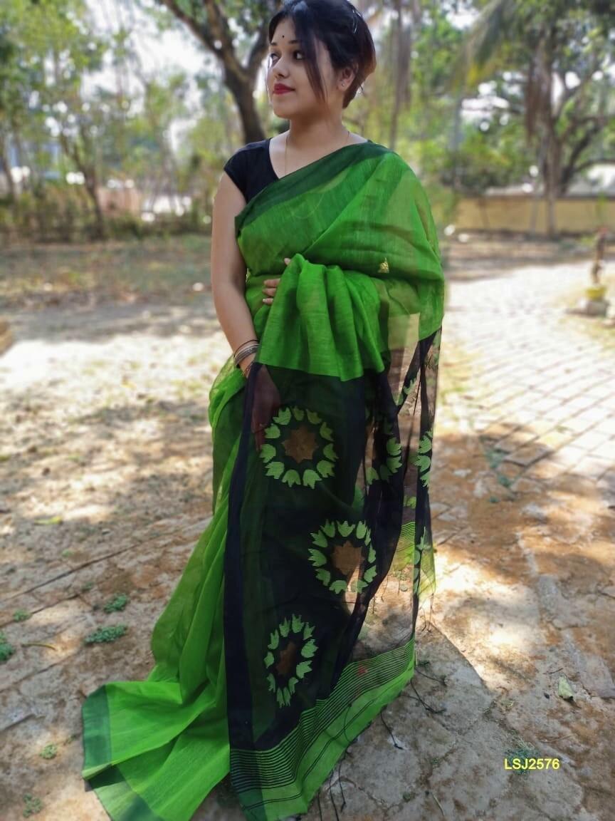 Silk by linen saree with hand woven jamdani work