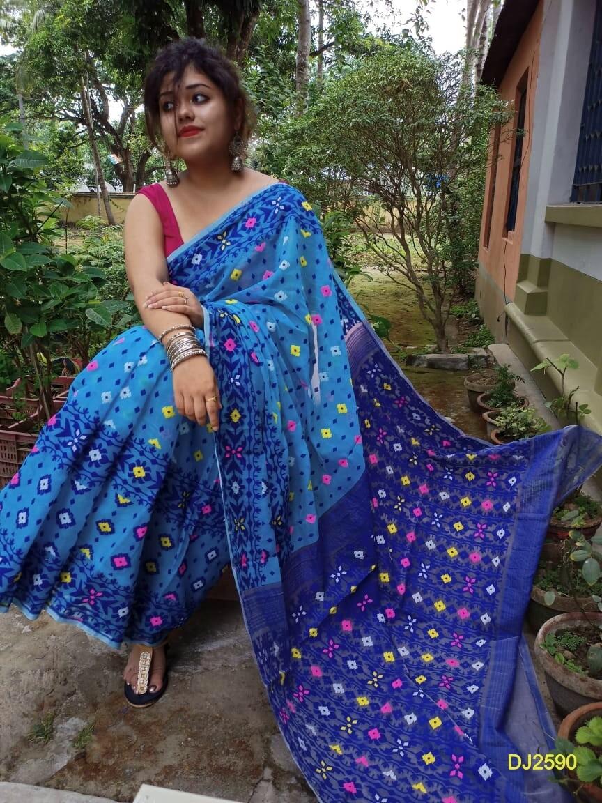 Multicolor Dhakai Jamdani Saree with all-over  work