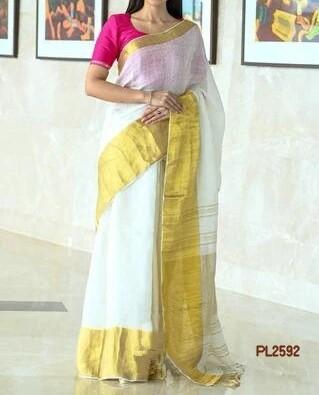 White shade Linen Saree with zari border